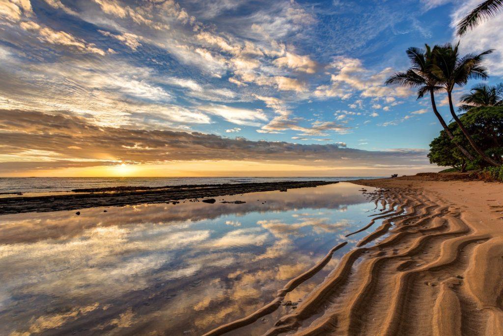 Sunrise from kauai Kailani in the town of Kapaa on the Hawaiian Island of Kauai.
